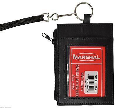 100% Genuine Leather neck Id Holder Black #761 with lanyard by Marshal