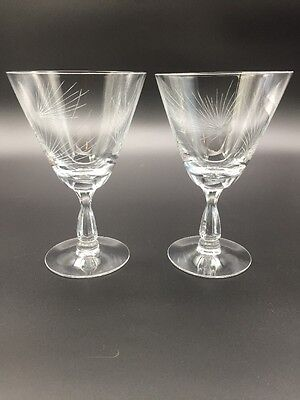 (5125) Two Fostoria Glass Pine Water Glass 5-7/8""