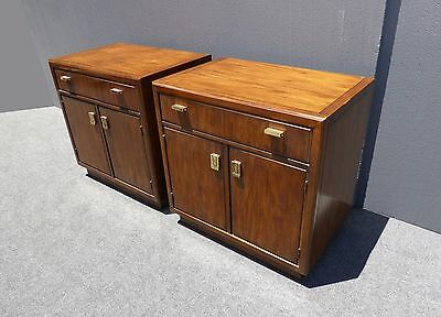 Pair Vintage Drexel Mid Century Solid Wood NIGHTSTANDS Bachelor Chests