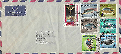 F 130 Guyana  1968 airmail cover UK; 7 stamps; 32c rate