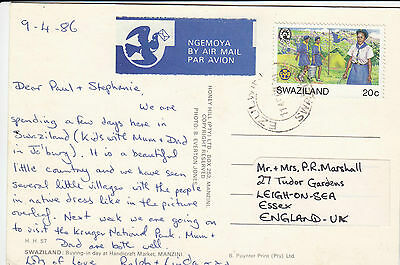 F 68 Sawziland Ezulwini 1986 air UK postcard; 20c rate ;  solo Guides stamp