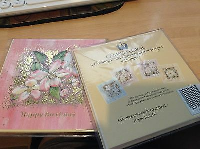 BNIP Pack of Floral Happy Birthday Cards (6 cards - 4 Designs)