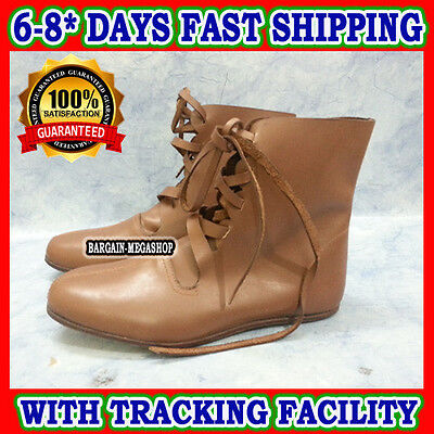 Medieval Renaissance Shoes Viking Mens Brown Leather Boots Costume Role Play