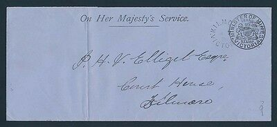 VICTORIA Frank Stamp 1895 Minister of Mines cover