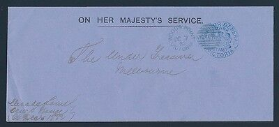 VICTORIA Frank Stamp 1882 Solicitor General cover