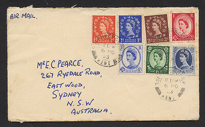Great Britain 1953 ½d -1/6 QEII  cover with 7 stamps  to Australia