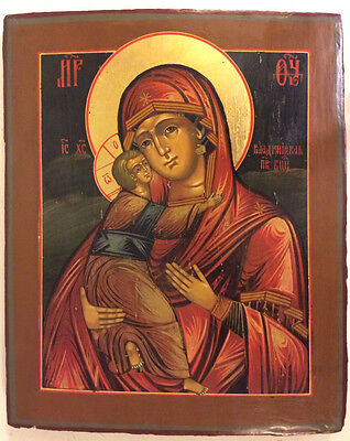RUSSIAN ORTHODOX TEMPERA PAINTED ICON: VLADIMIR MOTHER of GOD