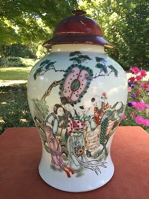Antique Vintage Chinese Porcelain Famille Rose Jar Hand Painted Calligraphy