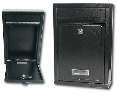 Black Steel Mail Box Lockable Wall Mounted Postbox Letter Post Letterbox Mailbox