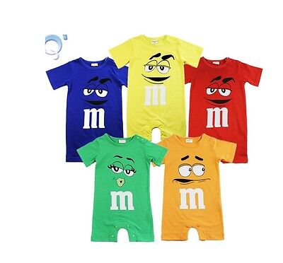 Babygrow M&M sweets Romper suit baby boys girls clothes 0-1, 1-2, 2-3 years, UK