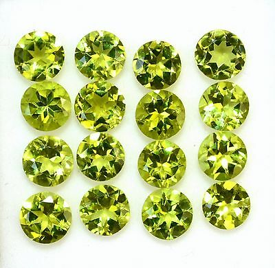25Pcs Lot Natural Peridot 5X5 Mm Shape Round Faceted Cut Cabochon Loose Gemstone