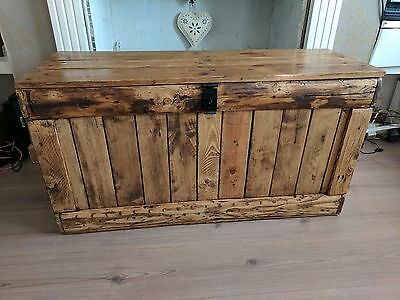 Large rustic wooden trunk bench/chest storage ottoman. Handcrafted/reclaimed.