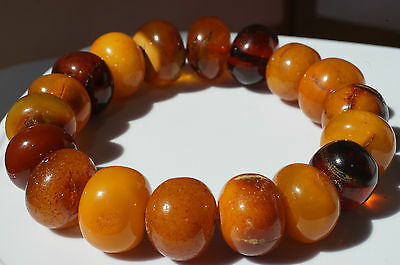 Antique Baltic Sea Amber Bracelet 23 Grams  Beeswax Color,古董波罗的海琥珀手链23克蜂蜡颜
