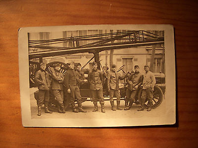 Cpa  Carte Photo Vehicule Automobile Pompier  Personnages Animee