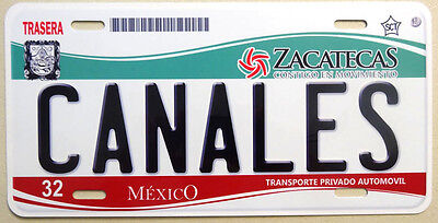 Canales Zacatecas Aluminum Novelty Tag Car License Plate