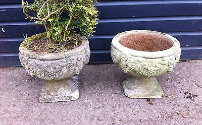 Vintage pair of stone garden pots planters ornament