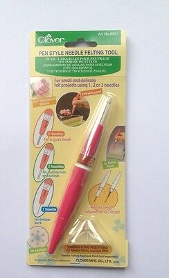 Clover pen-style needle felting tool for using applique felting moulds