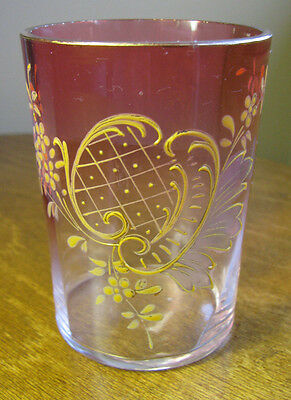 Antique Victorian Hand Painted Cranberry Fade Gold Enamel Glass water Tumbler
