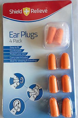 Foam Ear Plugs 4 - 20 pairs + carry case box travel sleep hearing protection