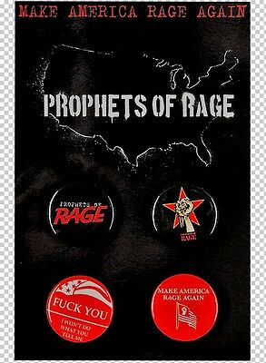 New PROPHETS OF RAGE SET OF 4 BUTTONS / PINS  2016 OFFICIAL CONCERT MERCH