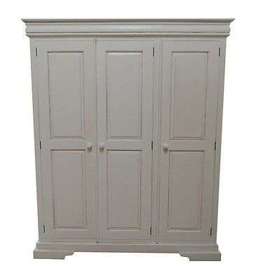 Solid Mahogany Louis Philippe Sleigh Triple Wardrobe 3 door Antique White ARM022