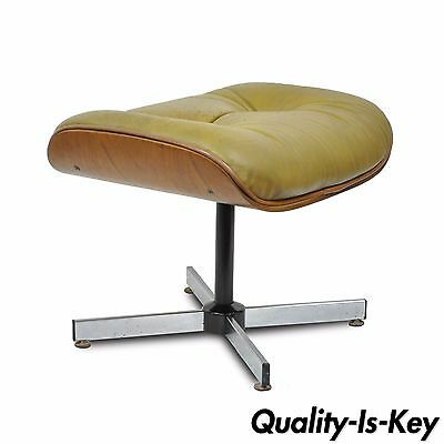 Vintage Mid Century Modern Plycraft Eames Styl Walnut Leather Ottoman Foot Stool