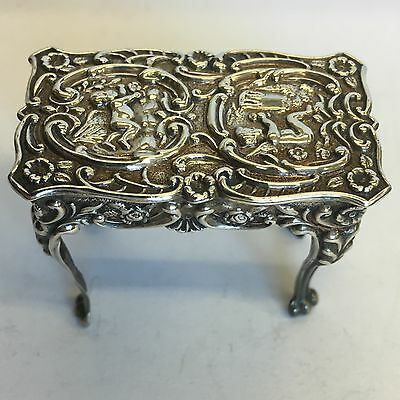 Antique Solid Silver Miniature Table Levi & Salaman 1906 Ornate Cherubs