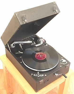 Vintage 1930s Columbia 201 Portable Gramophone Super Condition inc 78rpm records
