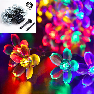 Multicolour 50LED Solar Powered Fairy String Lights Outdoor Party Flower Lantern