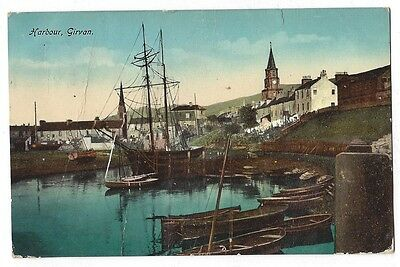 GIRVAN The Harbour, Old Postcard by Philco, Postally Used 1914