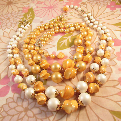 Pair of Vintage 1960s/70s 2 Strand Lemon Yellow & Faux Pearl Beaded Necklaces