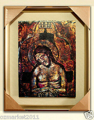 Catholic Church Portrait Jesus Cross Christian Blessed Frame Cloth Delicate F