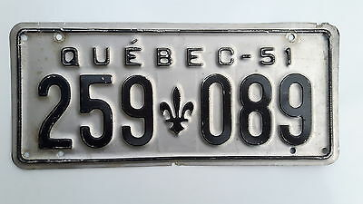 1951 Quebec  License Plate 259-089