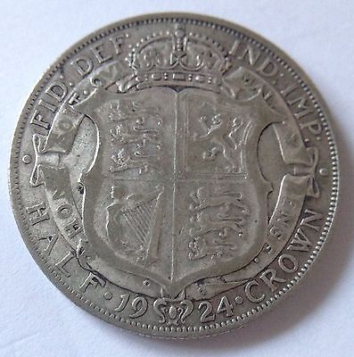 King George V 1924 1/2 Half Crown Coin Great Britain Uk .500 Silver