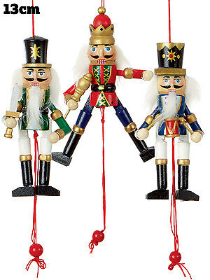 Nutcracker Tree Decoration Christmas Wooden Hanging Pullstring Xmas Ornament 13c