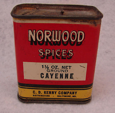 1930-40s Norwood Spices CAYENNE Spice Tin - C. D. Kenny Co.