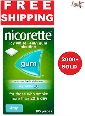 Nicorette Chewing Gum Icy White Ice Gum 4mg 105 Pieces Free Shipping to USA