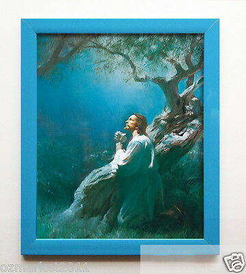 Catholic Church Portrait Jesus Cross Christian Blessed Acrylic Blue Photo Frame