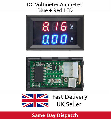 4.5-30V DC Voltmeter Ammeter Blue + Red LED Amp Dual Digital Volt Meter Gauge UK