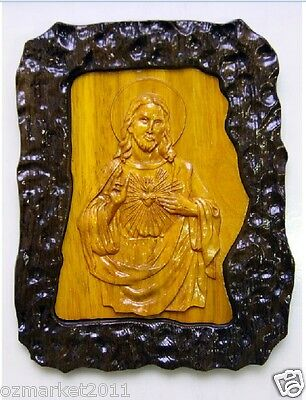 Catholic Church Portrait Jesus Cross Christian Blessed Wood Carving Photo Frame