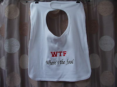 Adult bib Where's the food great fun perfect gift ideal for elderly & disabled