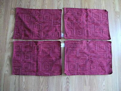 Set Of 4 Table Kitchen Placemats Red, Burgundy Squares  Kitchen Decor