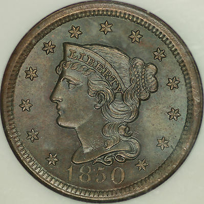1850 Braided Hair Large Cent NGC MS65BN