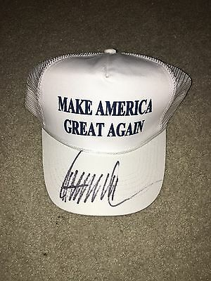 Donald Trump Signed Hat Make America Great Again President Jsa Sticker Coa
