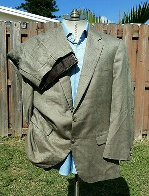 BROOKS BROTHERS Tweed Houndstooth Silk Tan Blue Green Suit Jacket 43R Pant 37W
