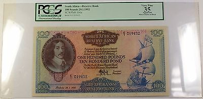 29.1.1952 100 Pounds South Africa Note SCWPM# 100a PCGS VF 35 Apparent VERY RARE