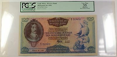 29.1.1952 100 Pounds South Africa Note SCWPM# 100a PCGS VF 30 Apparent VERY RARE