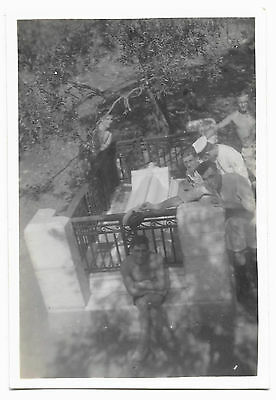 HMS Repulse - photograph of Officers at grave of Rupert Brooke, Greece 1937