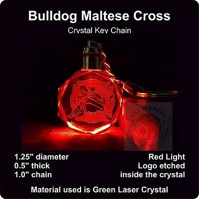 Bulldog Maltese Cross Key Chain Neon Crystal Gift Firefighter FD Fire Badge D 18
