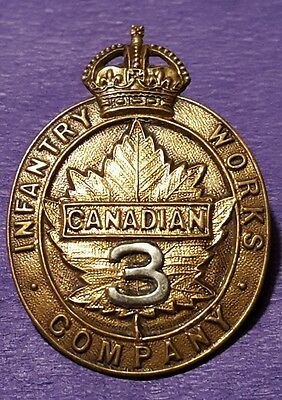 CEF 3rd Infantry Works Company Cap Badge